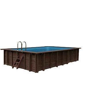 Schwimmbecken SUMMER OASIS, Gartenpool Auf- und Erdeinbau, Holz, rechteckiges Schwimmbecken, 6,00 x 4,19 x 1,31 m, Pumpe, Poolleiter, Skimmer