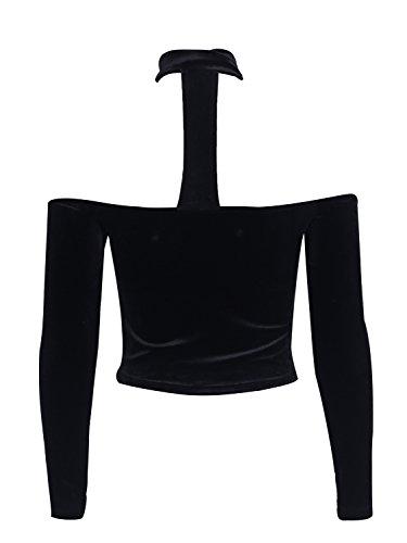 Simplee Apparel Damen Shirts Elegant Langarm Schulterfrei Samt Blusen Pullover mit Choker Schwarz