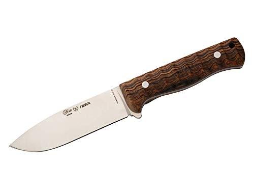 Nieto Couteau de Chasse/d'extérieur YESCA Acier 1.4116 Full Tang, Drop Point, Lame Plate, Cocobolo, Fourreau en Cuir