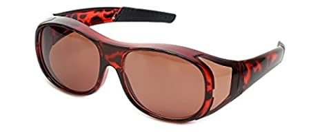 Fit Over Sunglasses Large Tort Brown Frame UV400 Protection Blue Light Blocking Copper Lens Wear Over Prescription Glasses Mens Womens + Pouch