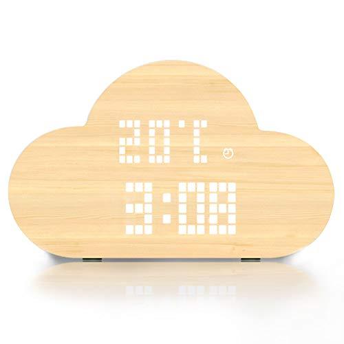 IDABAY Despertador de Madera Nube Reloj de Mesa LED Brillo Digital Pantalla de Temperatura y Humedad con Activación de sónido para Oficina Hogar (arrón, marrón Claro, Gris)