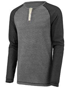 Augusta Sportswear Men'S Linear Fusion Long Sleeve Henley S Oxford Grey/Black... Augusta Sportswear Henley