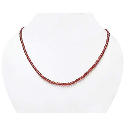 Natürliche rote Granat Rondelle Perlen Halskette Strang mit Sterling Silber Verschluss Birthstone Schmuck