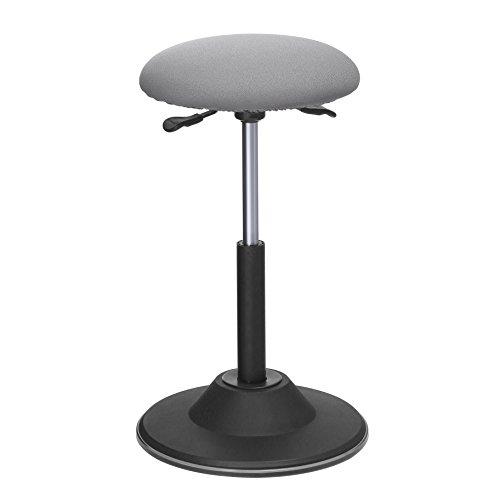 SONGMICS höhenverstellbare Stehhilfe, Arbeitshocker, um 360°drehbarer Barhocker, Bürohocker, Sitzhöhe 50-70 cm, mit Anti-Rutsch-Bodenring, OSC01GY