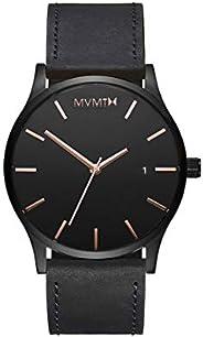 ساعة كلاسيكية بمينا اسود وسوار جلدي بلون اسود للرجال من ام في ام تي - D-MM01-BBRGL