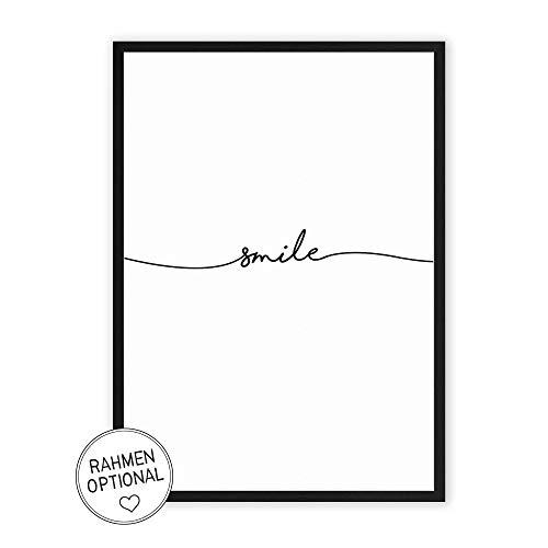 smile - Kunstdruck auf wunderbarem Hahnemühle Papier DIN A4 -ohne Rahmen- schwarz-weißes Bild Poster zur Deko im Büro/Wohnung/als Geschenk Mitbringsel zum Geburtstag etc.