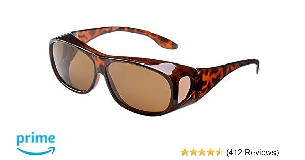 b5d3adabf78 Overglasses Fit over sunglasses Wear over your prescription glasses  Polarised UV400 wrap around Tortoise Brown lens Category 3  Amazon.co.uk   Health ...