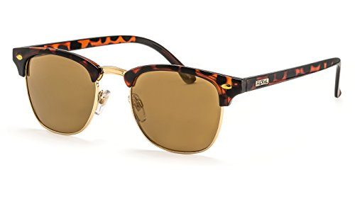 Filtral Runde Sonnenbrille/Retro Sonnenbrille im Browline-Style mit gold verspiegelten Gläsern für Damen und Herren F3025508