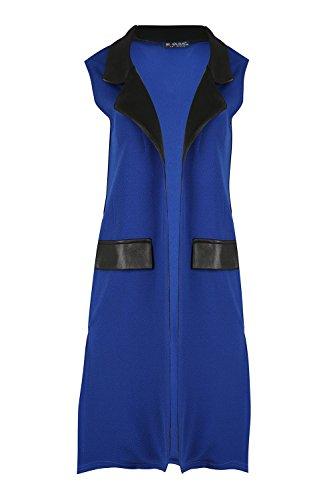 Oops outlet femme extensible pVC brillant col page fente split midi longueur ouverte avant le manteau veste blazer blouse en tricot top plus eU 36–50 Bleu Roi