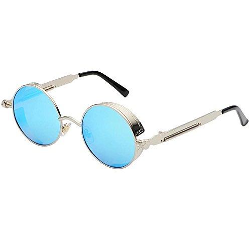 Aoligei Dampf-Alter Punk Sonnenbrille Europäische und amerikanische Persönlichkeit Frame Circular Polfilter Anti-UV