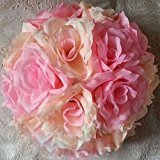 elegantstunning Kunstblumen Küssen Ball Seide Rose Pomander Blume Hochzeit Party Dekoration Rot 15 cm