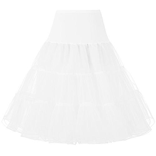 Izanoy 50er Jahre Petticoat Vintage Retro Reifrock Petticoat Unterrock für Wedding bridal Petticoat Rockabilly Kleid Weiß M