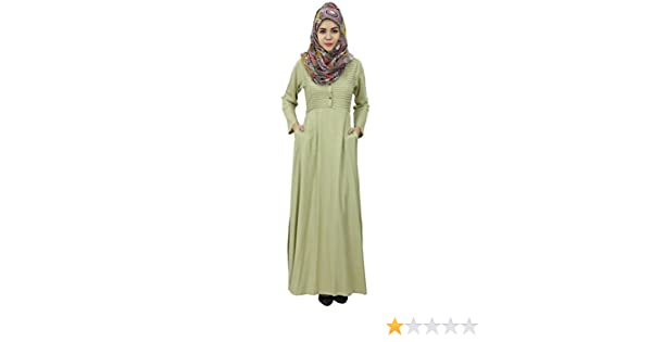 155ba37a2dd Bimba Women s Long Sleeve Muslim Islamic Abayas Pleated Maxi Jilbab Dress  with Hijab Beige  Amazon.co.uk  Clothing