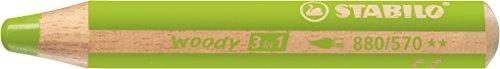 Stabilo woody 3 in 1 matitoni colorati colore verde foglia - confezione da 5