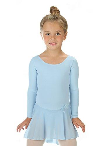 elowel Kinder Mädchen Rüschen Langarm Röcke Ballett Trikot Tanztrikot Gymnastikanzug Turnanzug Trikot (Größe 8-10 Jahre) Hellblau (Größe Gymnastik Mädchen Turnanzug 10)