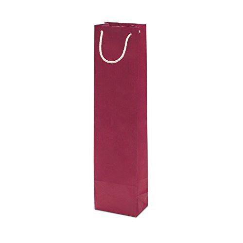 50 x Flaschentasche rot 95+65x380 cm | stabile Geschenktasche | Flaschentüten Baumwollkordel | Wine Bag | Weintasche | HUTNER