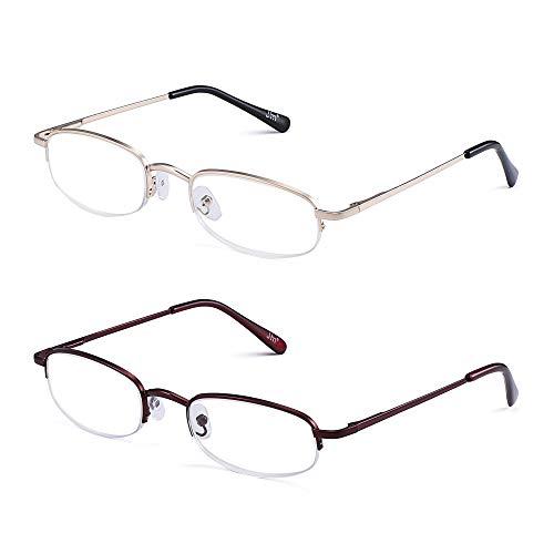 JM Halber Rand Lesebrille 2 Paare Federscharnier Brille Leser Damen Herren Eyewear +2.0