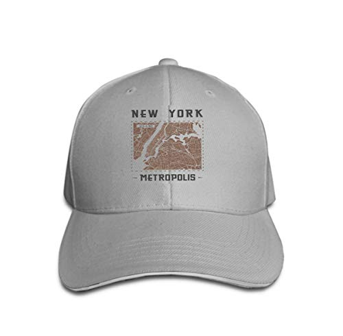 Unisex Baseball Cap Trucker Hat Adult Cowboy Hat Hip Hop Snapback New York Vintage Graphic Design City map Print Label Badge embl Gray