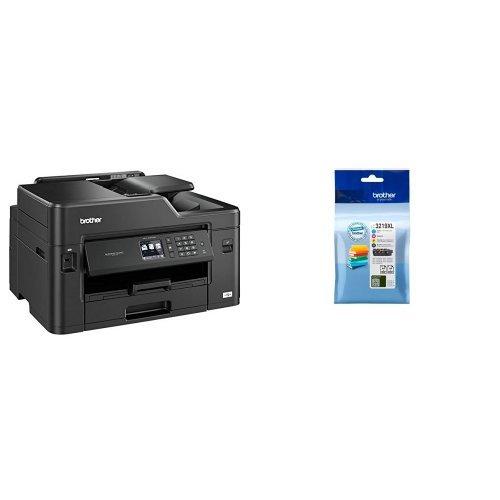 Brother mfcj5330dw stampante multifunzione inkjet con stampa a3, stampa fronte e retro automatica, rete wireless e cablata + lc-3219xlval cartuccia d'inchiostro, multicolore