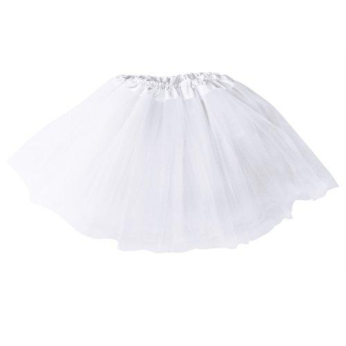 Mangotree Mädchen Tütü Minirock Organza Pettiskirt 3 Layers Petticoat Tanzkleid Unterrock Perfekt für (Kostüm Weiße Mädchen Basic)