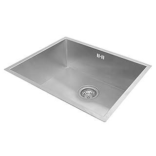 Valle Breton Square Designer Undermounted Kitchen Sink 540x440mm Single Bowl Stainless Steel + Free Waste Kit