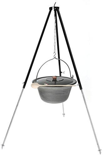 Grillplanet® Gulaschkessel mit Dreibein 1,3 m (Set 10 l Eisen Kessel mit Deckel emailliert)