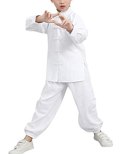 Mengmiao Kinder Unisex Langarm 2-Teiliges Set Kampfsport Oberteile und Hosen Darbietungen Anzug Weiß 140