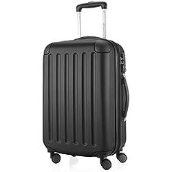 Hauptstadtkoffer - Spree - Handgepäck Hartschalen-Koffer Trolley Rollkoffer Reisekoffer Erweiterbar, TSA, 4 Rollen, 55 cm, 42 Liter, Schwarz