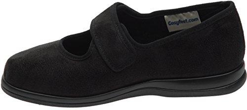 Cosyfeet Skye Schuhe - Besonders geräumig / Extra Roomy (breite Passform M+ Euro / 5E+ Width Fitting UK) Schwarz, Mikrofaser