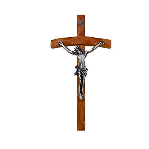 SHUANGBING Skulptur Dekoration Statue Kreuz Kruzifix Reliquien Figuren Jesu Lamm Gottes Kunst Skulptur Teak Kunst & Handwerk Katholisch Christliche Aktivitäten, Mehrfarbig