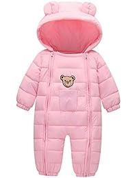 FEOYA - Mono para Bebés Invierno de Mangas Largas con Capucha Mameluco Cálido para Outdoor para Recién Nacidos de 1-9 Meses - Azul
