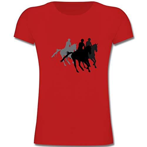 Sport Kind - Freizeitreiten Ausreiten Reiten - 152 (12-13 Jahre) - Rot - F131K - Mädchen Kinder T-Shirt (Lustige Show T-shirt)