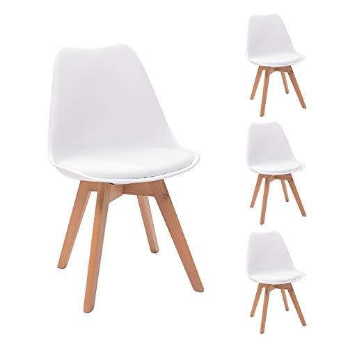 Homely - Juego de 4 sillas de comedor DAY, patas de madera...