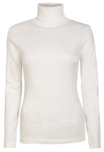 Damen Rollkragen-Pullover, ausschließlich von Brody & coâ ®, Unifarben, für den Winter und Skifahren, Stretch-Qualität, Jersey Baumwolle Gr. Large, cremefarben (Pullover Jersey)