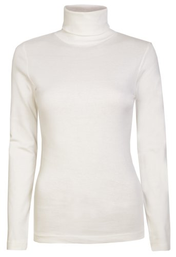 cbb95f420b60b3 Womens Roll Necks Ladies Polo Neck Tops Exclusively By Brody & Co. Plain  Winter Ski Quality Stretch Jersey Cotton (L 14, Cream)