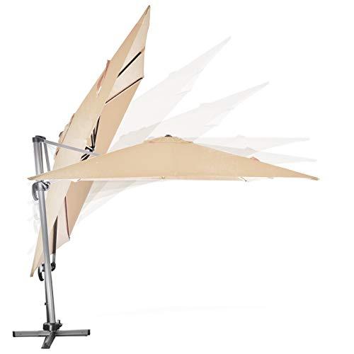 TronicXL Premium Ampelschirm Sonnenschirm 3 x 3 m Meter XXL Aluminium Alu Metall Gestänge + Ständer Sonnenschirmständer Überdachung Pool Garten Gartenschirm Sonne Sonnenschutz Schirm Champagner