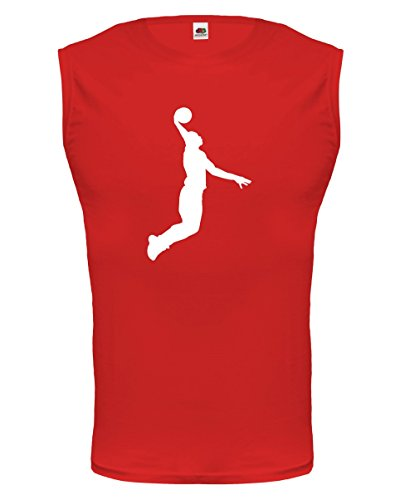 buXsbaum® Herren armfreies Tank Top Basketball Dunker   Ballsport slam dunk   M red-white Rot