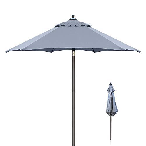 Ziigo Parasol de la Terrasse, Parasol de Jardin avec Mécanisme Inclinaison, UV 50 + Protection Contre Le Soleil, Gris