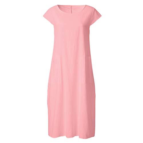 LOPILY Kleid Große Größen Damen Strandkleid Elegant Lose Tunika Kleid mit Taschen Lässiges Kleid Lang Sommer Basic Innen Kleid Herbst Freizeit Shirtkleid Übergröße bis Gr.50 (Rosa, 40)