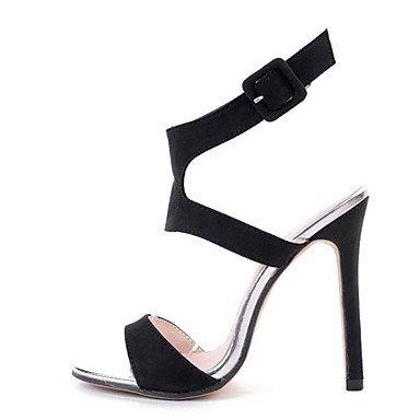 LvYuan Da donna Sandali Felpato Estate Fibbia A stiletto Nero Tessuto almond 10 - 12 cm Black