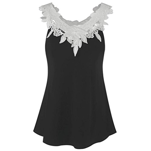OverDose Damen Sommer Ärmellos Bluse Mode Frauen Bandagen Sleeveless Weste Spitze Schmetterling Strappy Print Tank Tops T Shirt Oberteile(X-e-schwarz1,S)