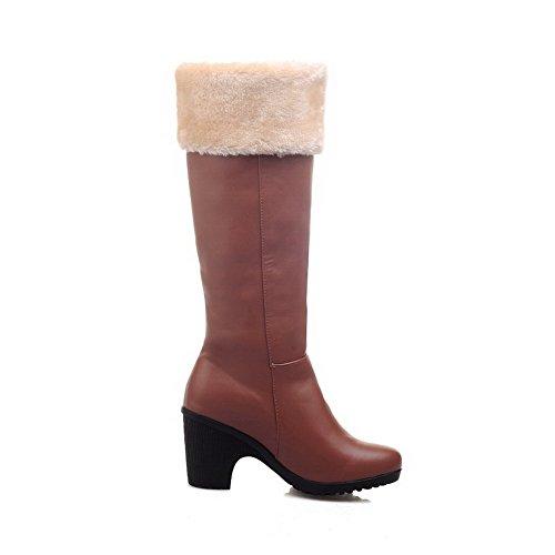 AgooLar Damen Hoch-Spitze Ziehen auf Weiches Material Hoher Absatz Rund Zehe Stiefel, Schwarz, 36