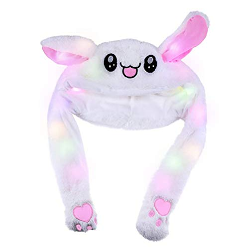 Heylas Plush Bunny Hat Funny Cute Rabbit Hat,Moving Ear Hat Control Ear, Funny Bunny Cartoon Warm with Colorful LED Light Toy Hat Cartoon Animal Plush Toys ()