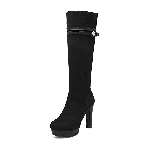 AgooLar Damen Rund Zehe Reißverschluss Hoher Absatz Stiefel, Schwarz-Wasser Diamanten, 38