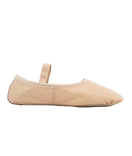 DWS 1003 Ballett Ballerina Tanz Gymnastik Sport Hallen Trainings Schläppchen Schuhe Leder Kinder Damen mittlere Weite rosa Weiß