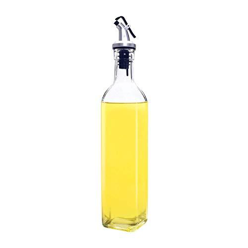 Angker - Botella de aceite, dispensador de aceite de oliva de cristal, dispensador de aceite de crudo, botella de cristal para cocinar (500 ml)