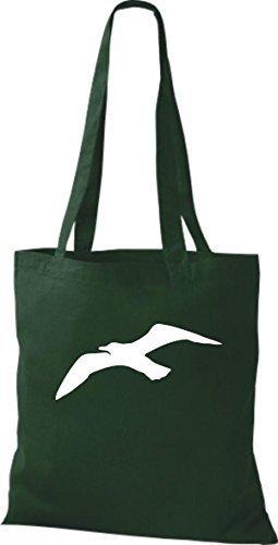 T-shirt In Tela Borsa In Cotone Motivo Nautico A Vela Gabbiano Verde