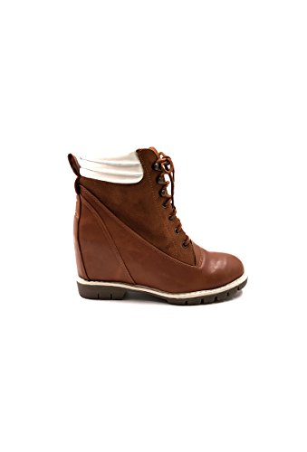 CHIC NANA . Chaussure femme bottine compensée, bi matière style daim et similicuir.