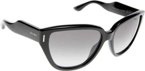 MIU MIU Large Cateye Sunglasses in Black MU 09NS 1AB3M1 60 60 Grey Gradient