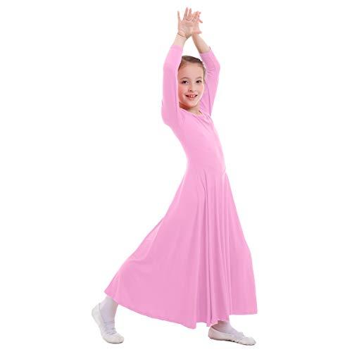 OBEEII Mädchen Tanzstrumpfhose Liturgisch Tanzkleid Lange Ärmel Jugendliche Elegant Worship Tanzkleidung Ballett Jazz Lateinischer Tanz Kirche Chor Beten Gebet Kostüm für Kinder Rosa 5-6 Jahre